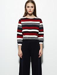 Tee-shirt Femme,Rayé Décontracté / Quotidien simple Automne / Hiver Manches Longues Col Arrondi Rouge / Orange Polyester Moyen