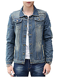 Men's Casual/Daily Simple Denim JacketsSolid Shirt Collar Long Sleeve Spring / Fall Blue Cotton Medium