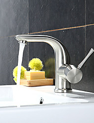 Contemporary / Art Deco/Retro / Modern Standard Spout Vessel Rain Shower / Widespread with  Ceramic Valve Single Handle One Hole for