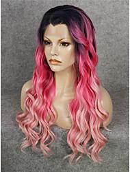 imstyle peruca 24popular parte dianteira do laço rosa vermelha ombre sintética raiz natural preto