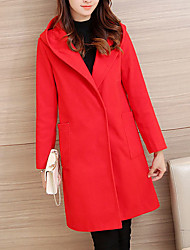 Women's Casual/Daily Fashion Large Size Loose Hin Thin Simple / Street chic CoatSolid Hooded Long Sleeve Spring / Winter