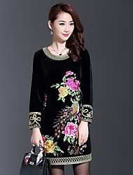 AINIER Women's Casual/Daily Chinoiserie Tunic DressJacquard Round Neck Above Knee Long Sleeve Black Spandex / Others Spring / Fall Mid Rise
