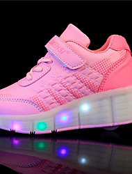 Boy's Athletic Shoes Spring / Summer / Fall / Winter Comfort PU Outdoor / Athletic / Casual Wedge Heel Buckle / LED Black / Pink Sneaker