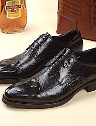 Для мужчин Туфли на шнуровке Удобная обувь Кожа Свадьба Для офиса Черный Вино Менее 2,5 см