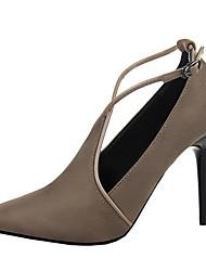 Women's Heels Spring Summer Fall Comfort Leather Party & Evening Dress Stiletto Heel Buckle Hook & LoopBlack Red Gray Burgundy Khaki