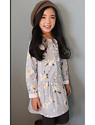 Girl's Casual/Daily Floral DressCotton Fall Blue