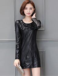 Sign new winter 2016 Korean Fashion Slim PU Piga velvet long section bottoming shirt Spot
