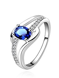 Ring Sapphire Wedding / Party / Daily / Casual Jewelry Zircon / Gem / Copper Women Ring / Engagement Ring 1pc,7 / 8 Cameo Blue / Silver
