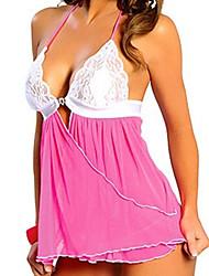 Damen Babydoll & slips Dessous Nachtwäsche,Sexy Einfarbig-Dünn Spitze Polyester Rote