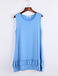 Women's Casual/Daily Vintage Loose Dress,Solid Round Neck Mini Sleeveless Blue Others Summer