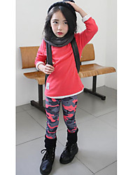 Girl's Casual/Daily Solid ShirtCotton Spring / Fall Blue / Red / White / Yellow