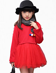 Girl's Casual/Daily Print / Embroidered Dress,Cotton Winter / All Seasons / Spring / Fall Pink / Red / Gray