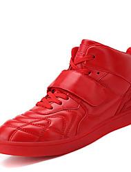 Femme-Décontracté-Noir / Rouge / Blanc-Talon Plat-Confort-Sneakers-Synthétique