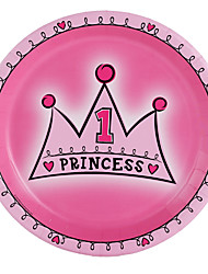 6Piece - 7 inch - Baby Pink Princess Dinner Party Plates / Beter Gifts Drinkware