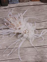 Mulheres Penas / Strass / Tecido Capacete-Casamento / Ocasião Especial / Casual Clip para o Cabelo 1 Peça