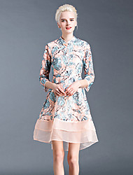GATHER BEAUTY Women's Going out Cute A Line DressEmbroidered Crew Neck Knee-length  Sleeve Pink Polyester Winter Mid Rise Inelastic Medium