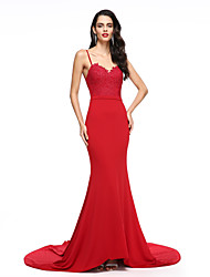 Mermaid / Trumpet Spaghetti Straps Court Train Chiffon Formal Evening Dress with Pleats by TS Couture®