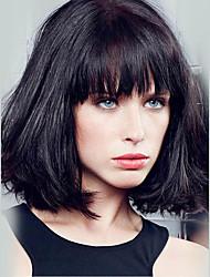 bela curto bob sem tampa reta perucas de cabelo humano