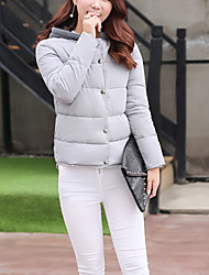 Women's Regular Padded Coat,Simple Casual/Daily Solid-Polyester Cotton Long Sleeve Multi-color