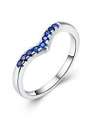 Anéis Casamento / Pesta / Diário / Casual Jóias Zircão / Cobre Feminino Anel 1pç,8 cobre / Azul Cameo
