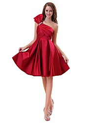 Knee-length One Shoulder Bridesmaid Dress - Elegant Sleeveless Satin