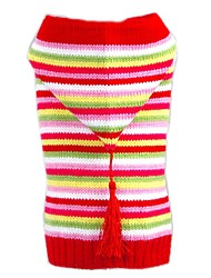 Lovely Colourful Stripe Design Winter Sweater with Hoodie Dogs Clothes for Pets Puppy Dogs (Assorted Sizes)