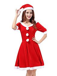 Costume de Soirée Costumes de père noël Fête / Célébration Déguisement Halloween Rouge Mosaïque Robe / Chapeau Noël / Carnaval / Nouvel an