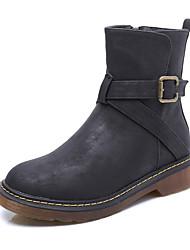 Women's Boots Winter Comfort Leatherette Casual Low Heel Zipper Black Yellow Gray