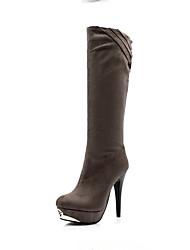 Черный / Серый-Женский-На каждый день-Материал на заказ клиента-На шпильке-На платформе-Ботинки