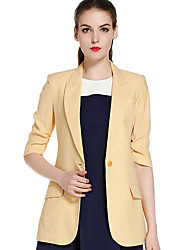 CANTO MOTTO Women's Casual/Daily Simple Fall BlazerSolid Notch Lapel  Sleeve Yellow Nylon / Others Thin / Medium