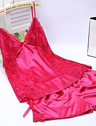 Donna Sensuale Indumenti da notte,Sexy Tinta unita-Medio Seta Bianco Rosa Viola Blu Giallo Nero