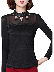 Spring Fall Women's Go out Slim Was Thin Solid Color Patchwork Stand Collar Long Sleeve Lace Blouse