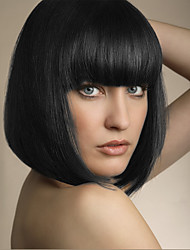 Lovely Youthful New Arrival Medium Straight Capless Wigs Human Hair Wig with Full Bang