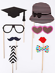 76pcs Photo Props Christmas Ornaments Christmas Cap & Red Lips & Mustache