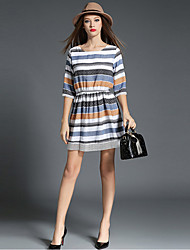 1287 Women's Fine Stripe Casual/Daily / Work Simple A Line DressStriped Boat Neck Knee-length Length Sleeve Blue Cotton