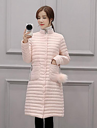 Women's Long Down Coat,Simple Casual/Daily Solid-Nylon White Duck Down Long Sleeve