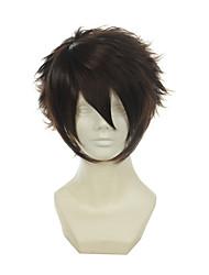 Hakuouki Okita Soji marrom escuro versátil revolvido curto halloween perucas perucas traje perucas sintéticas
