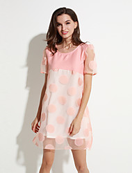 Women's Going out Street chic Plus Size / Loose Dress,Polka Dot