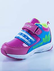 Girl's Sneakers Spring Fall Comfort PU Casual Flat Heel Hook & Loop Black Red Burgundy Royal Blue