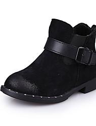 Girl's Boots Fall Winter Comfort Snow Boots PU Dress Casual Flat Heel Hook & Loop Black Red Walking
