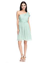 A-Line One Shoulder Knee Length Chiffon Bridesmaid Dress with Sash / Ribbon Side Draping Criss Cross by LAN TING BRIDE®
