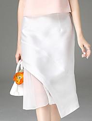 Damen Übergrössen Röcke,Bodycon einfarbig Chiffon,Ausgehen Einfach Hohe Hüfthöhe Asymmetrisch Reisverschluss Baumwolle Unelastisch Herbst