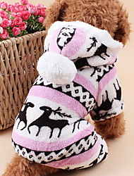 Cat / Dog Hoodie / Clothes/Jumpsuit / Pajamas Blue / Brown / Pink / Gray Dog Clothes Winter / Spring/Fall ReindeerCute / Keep Warm /