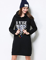 Women's Plus Size / Going out / Casual/Daily Simple / Cute / Street chic Shift Dress,Solid / Geometric / Jacquard Hooded Above KneeLong
