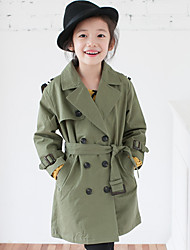 Girl's Casual/Daily Solid Trench CoatCotton Fall Brown / Green