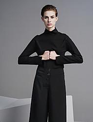 Damen Solide Einfach Ausgehen / Lässig/Alltäglich T-shirt,Rollkragen Frühling / Herbst Langarm Schwarz Kunstseide / Nylon / Elasthan