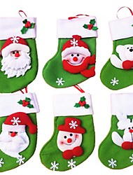 6Pcs/lot Mini Christmas Stocking/Socks Candy Bag Christmas Gift Bag Storage Bags Christmas Decoration(Style Random)