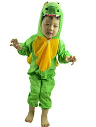 Kid Halloween Cosplay Hoodies Stitching Color Green Dinosaur Hooded Leotard Suits