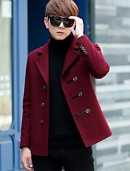 Masculino Casaco Tamanhos Grandes Moda de Rua Outono,Sólido Azul / Vermelho / Preto / Marrom Poliéster Colarinho de Camisa-Manga Longa