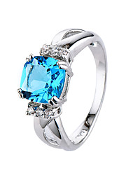2 Colors Blue CZ Diamond Crystal Rings for Women Fashion Silver Wedding Rings for Bride Rhodium Valentine's Day gift plated ring